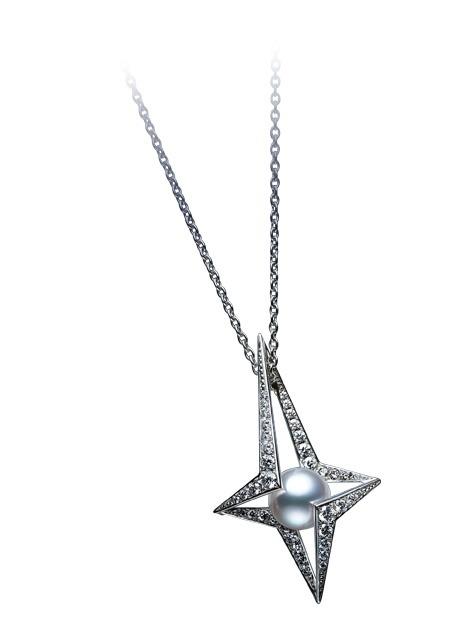 18ct White gold Mikimoto Diamond and Pearl Pendant