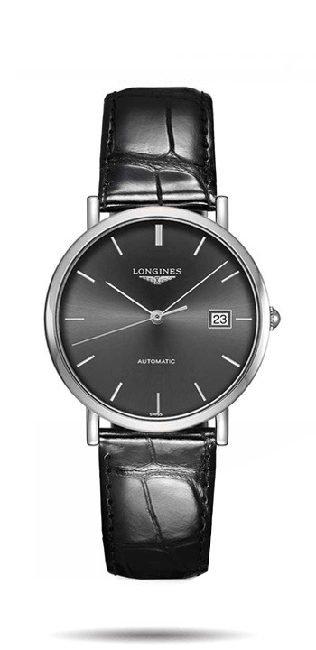 Longines Stainless Steel Elegance Black Diamond Dial Automatic