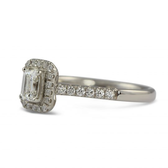 "PLATINUM ""SKYE"" EMERALD CUT DIAMOND RING"