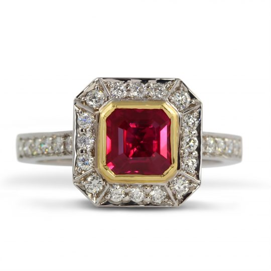 18ct white gold Diamond and Ruby Cocktail Ring