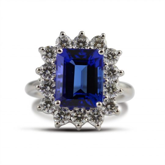18ct White Gold Tanzanite and Diamond Cocktail Ring