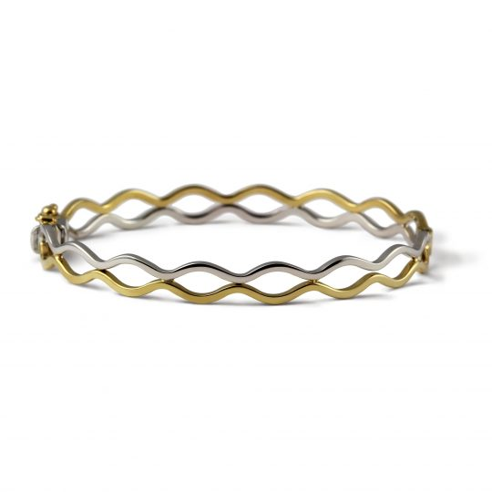9ct Yellow Twisted Wave Bangle