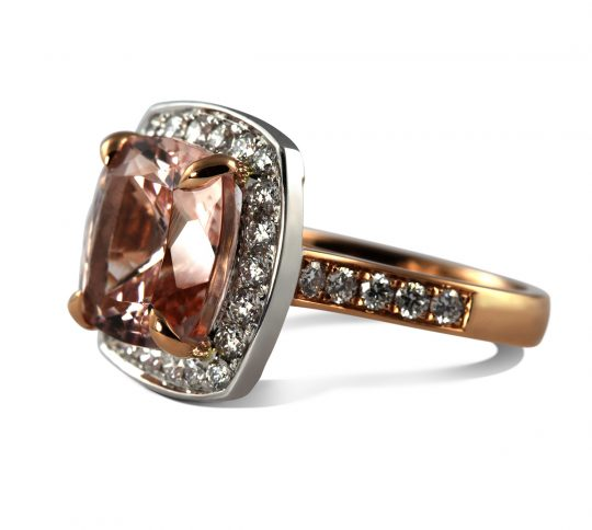 18ct White Gold Morganite and Diamond Cocktail Ring