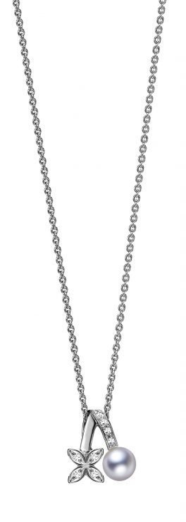 18ct White Gold Diamond and Pearl Necklace