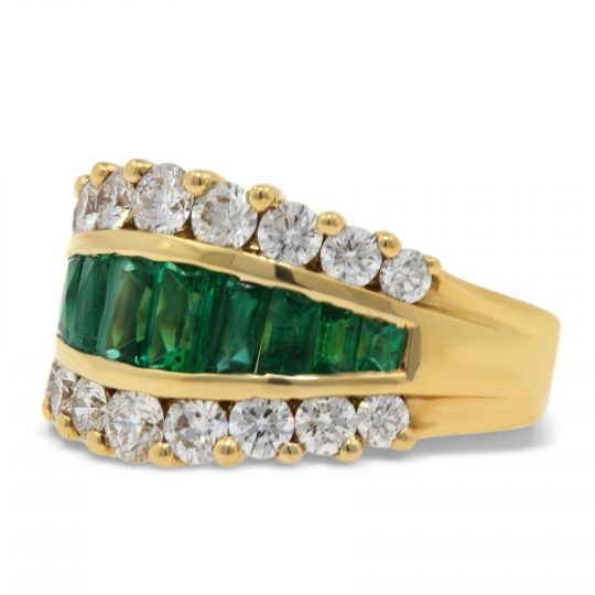 18ct Yellow Gold Emerald and Diamond Cocktail Ring