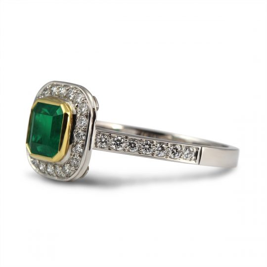 18ct White and Yellow Gold Emerald and Diamond Cocktail Ring