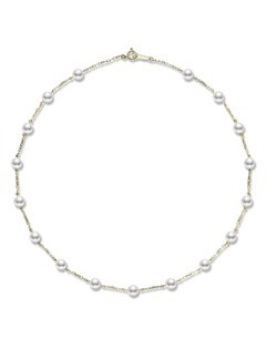 18ct Yellow Gold 5/5.25mm Pearl and Chain
