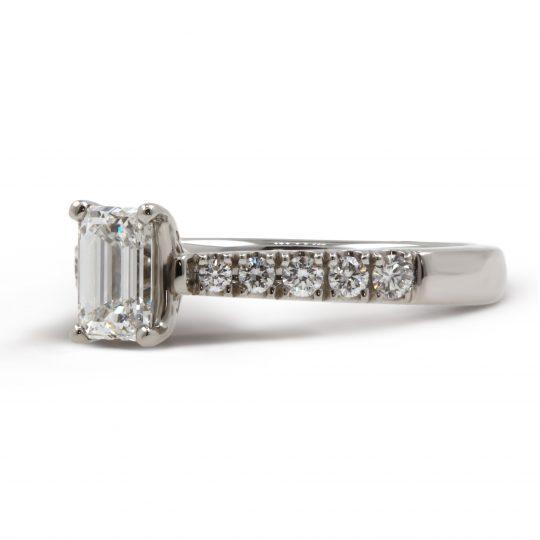 Platinum Classic Skye Emerald 0.71ct Diamond Ring