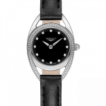 Stainless Steel Equestrian Black Diamond Dial and Bezel