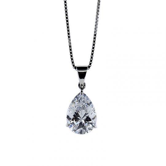 9ct White gold rbc cz pendant