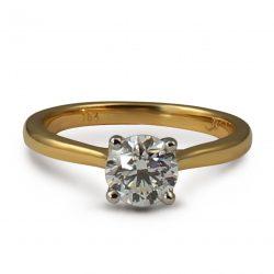 18ct yellow gold and platinum diamond ring