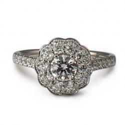 Platinum Savanna round brilliant cut diamond cluster ring