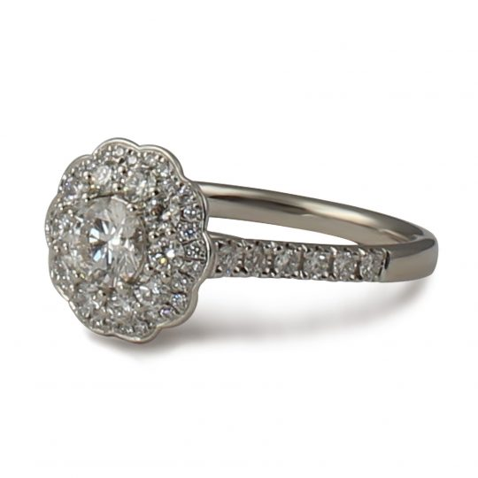 Platinum Savanna round brilliant cut diamond cluster ring