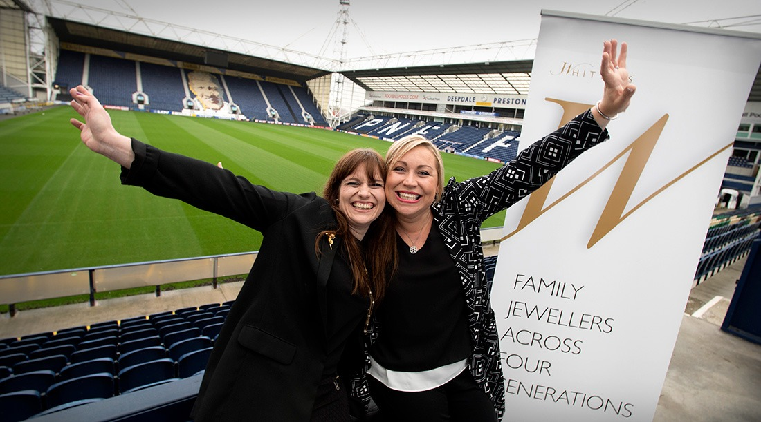 Rose (Whittles Assistant Manager) & Joanna (Whittles Director) at Preston North End