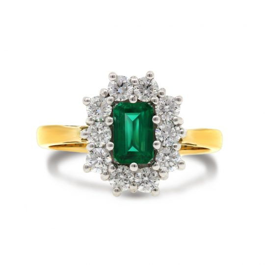 18ct Yellow Gold Emerald Diamond Cocktail ring