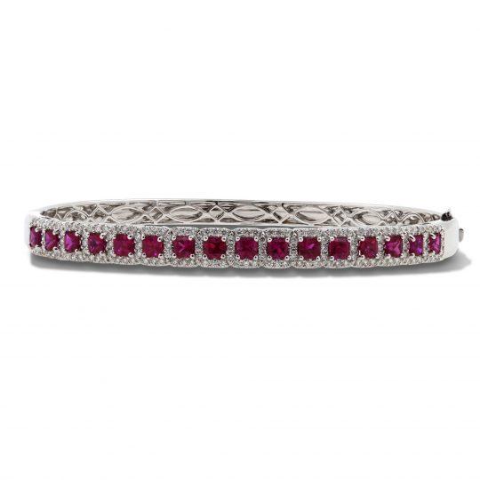 18ct White gold  Ruby & Diamond Bangle