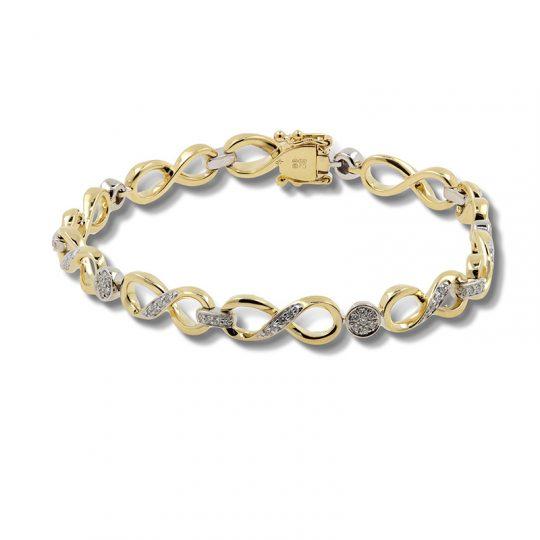 9ct Yellow Gold Diamond Bracelet