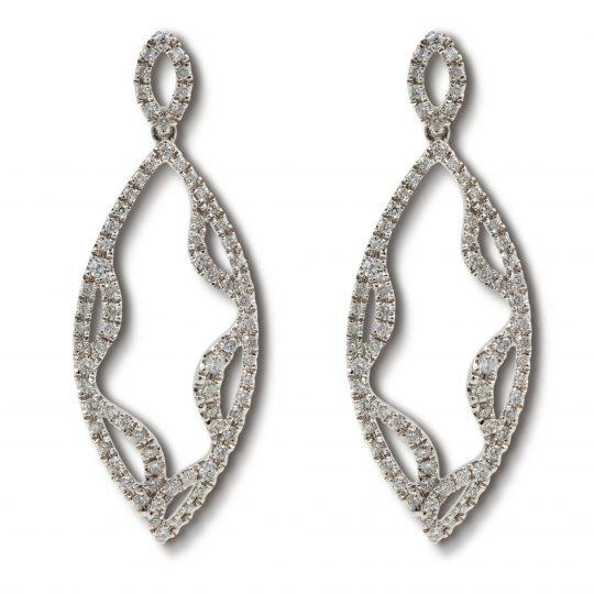 Fancy marquis shaped diamond drop earrings