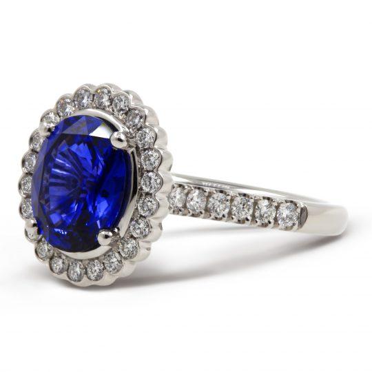 Platinum Sapphire and Diamond Cocktail Ring