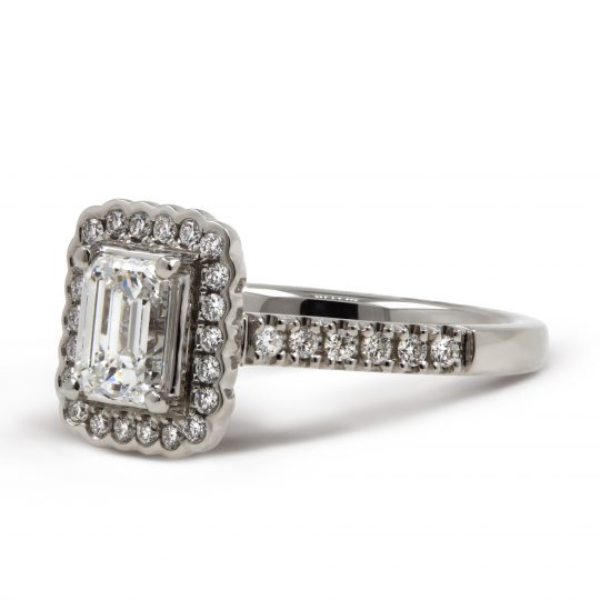 Platinum Faroe Emerald Cut Diamond Ring
