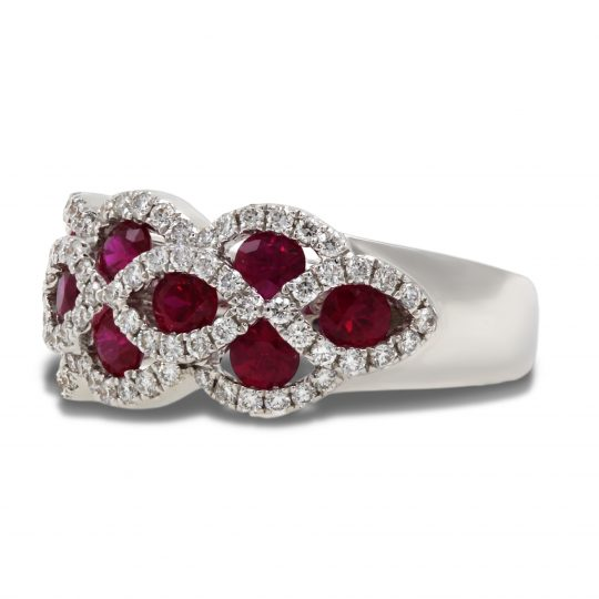 18ct White Gold Ruby and Diamond Cocktail Ring