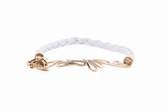 SHO Rose Gold Plated White Leather Bangle