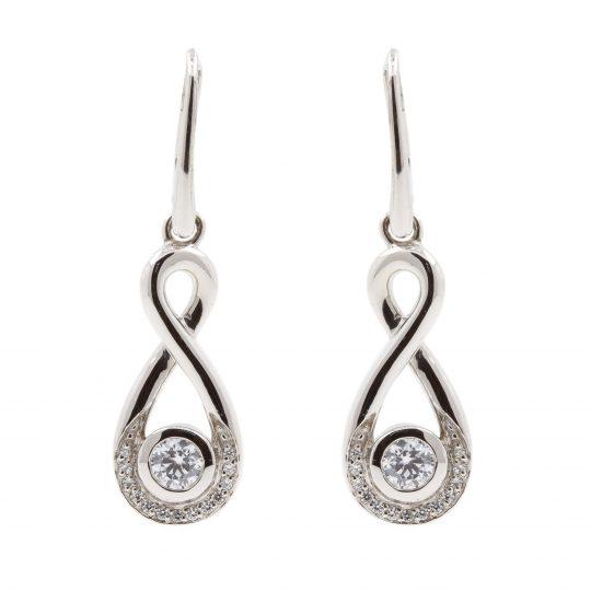 Viventy Silver loop Cubic zirconia drop earrings