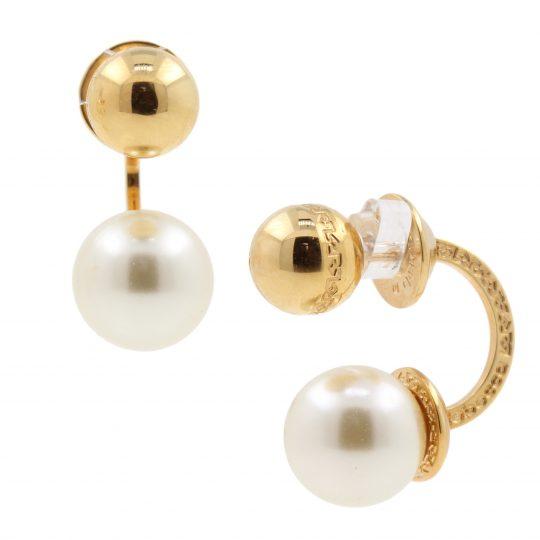 Rebecca Bronze gold shell pearl hoop earrings