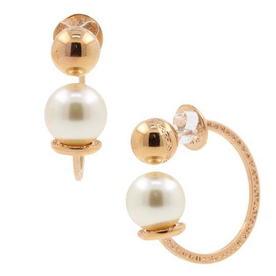 Rebecca Bronze rose gold shell pearl hoop earrings