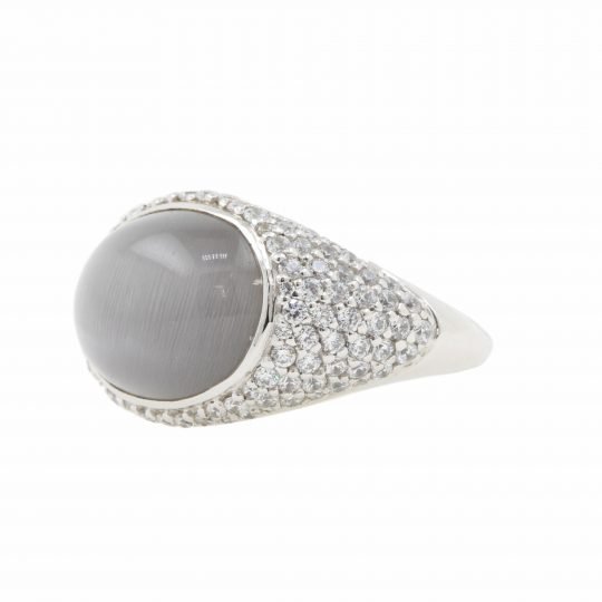 Viventy Silver Pave CZ and Synthetic Moonstone Ring