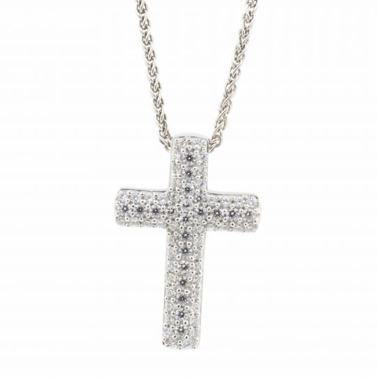 Viventy Silver Pave Set CZ Cross and Chain