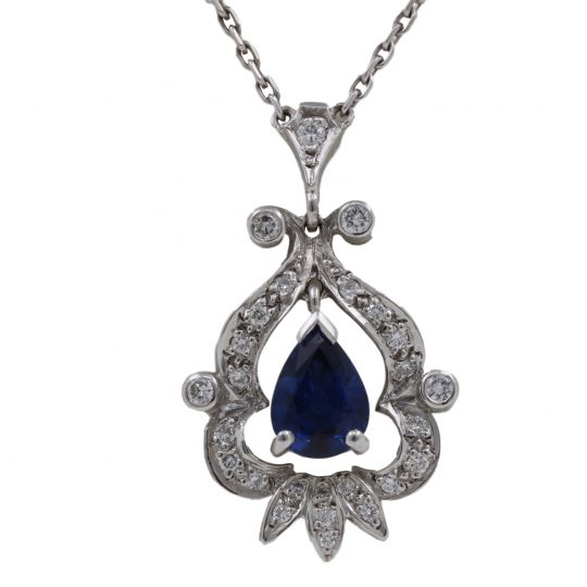 18ct White Gold .66ct Sapphire .19ct Diamond