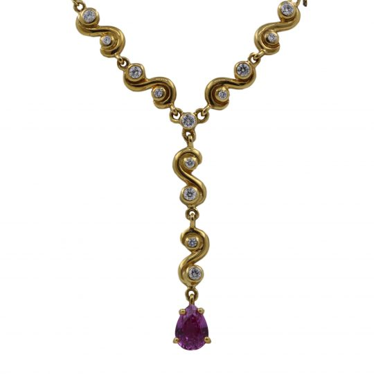 18ct Yellow Gold .97ct Pink Sapphire and .34ct Diamond