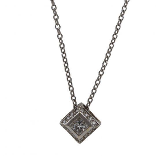18ct White Gold 0.24ct Diamond Pendant