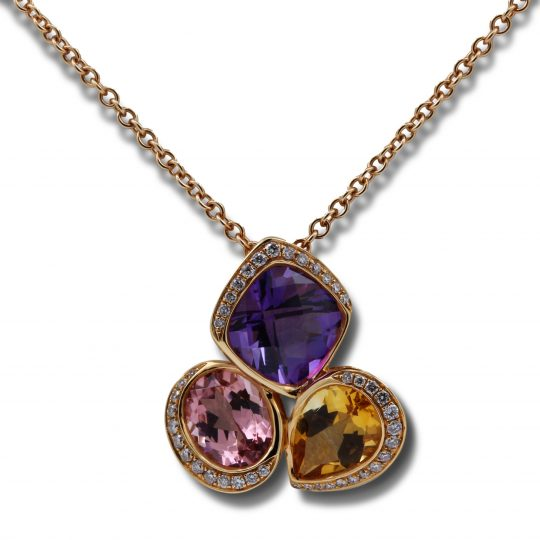 18ct White Gold Amethyst, Topaz and Diamond Necklace