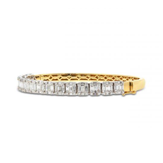 18ct White and Yellow Gold Mixed Cut Bangle 3.39ct Diamonds