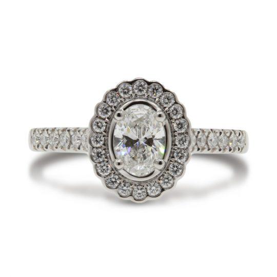 Platinum Faroe Oval 0.50ct Diamond Ring