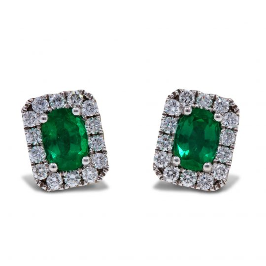 18ct White Gold Emerald Diamond Earrings