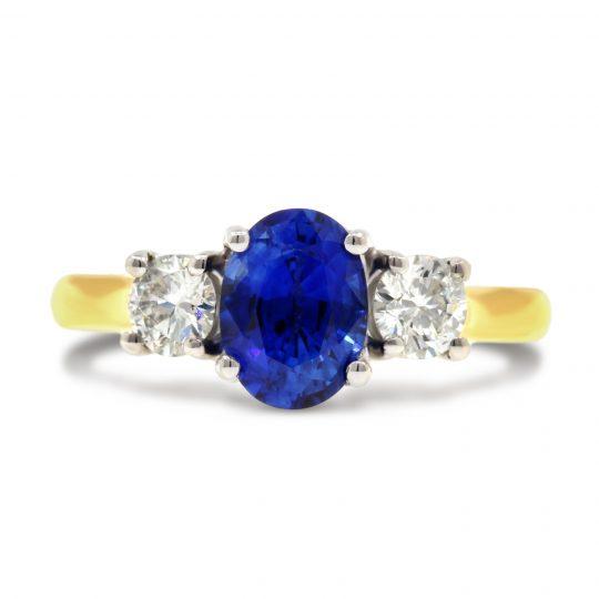 18ct Yellow Gold sapphire Diamond Ring